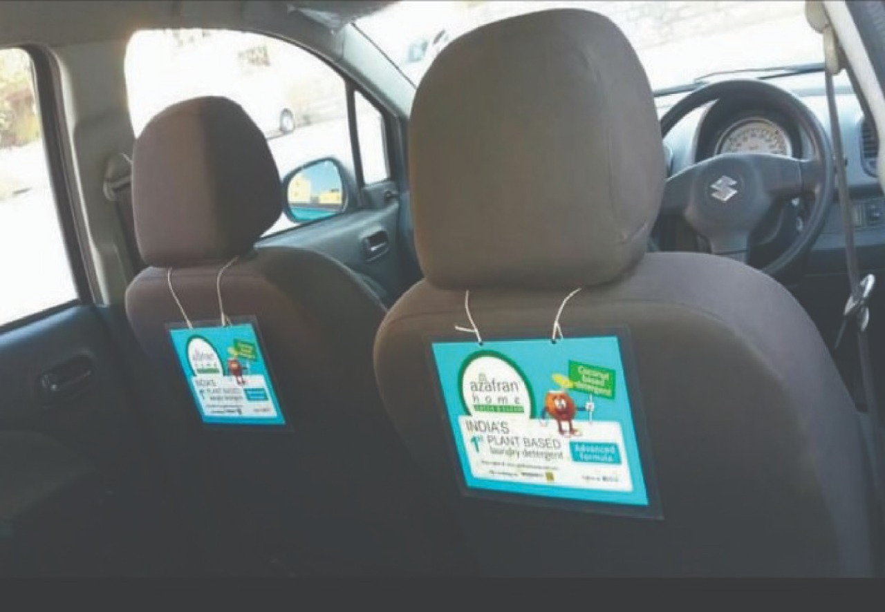Azafran Uber Cab Branding Activity Seat Panel